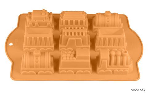 """Форма для выпекания силиконовая """"Паровозики"""" (340х240x50 мм; персиковый) — фото, картинка"""