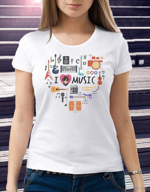 "Футболка женская ""Love music"" 46 (art. 2)"