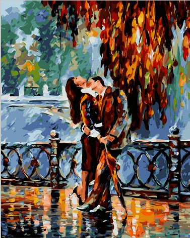 """Картина по номерам """"Страстный поцелуй"""" (400х500 мм; цветной холст)"""