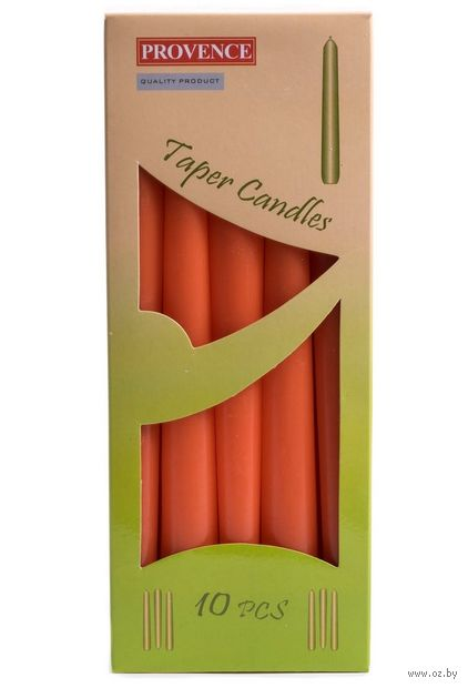 "Набор свечей декоративных ""Оранжевый"" (10 шт.; 240х20 мм) — фото, картинка"