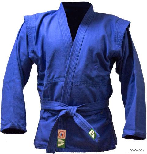 Куртка для самбо JS-302 (р. 2/150; синяя) — фото, картинка