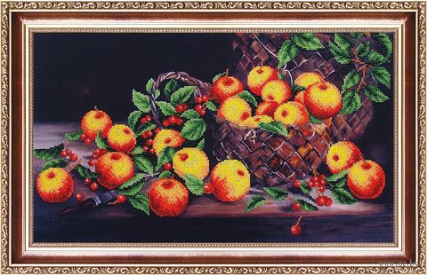 "Вышивка бисером ""Яблочный спас"" (460х270 мм) — фото, картинка"
