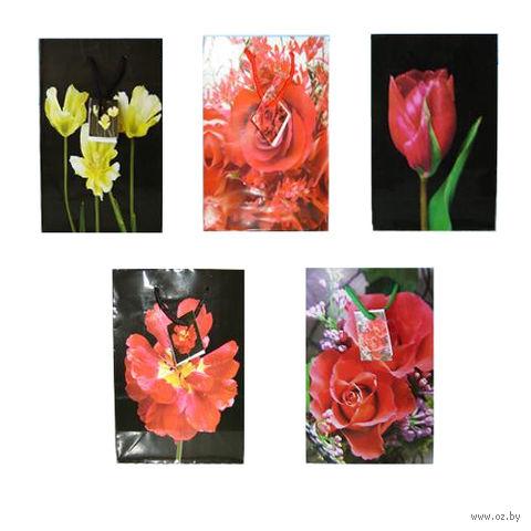 """Пакет бумажный подарочный """"Цветы"""" (в ассортименте; 18х23х8 см; арт. МС-1408)"""
