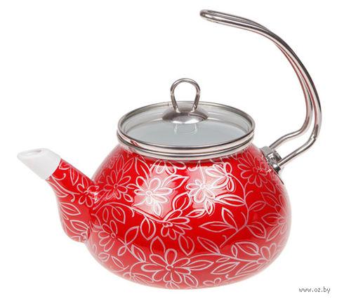 """Чайник стальной эмалированный """"Красный шелк"""" (2,2 л) — фото, картинка"""