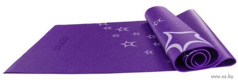 Коврик для йоги FM-102 (173x61x0,3 см; фиолетовый с рисунком) — фото, картинка