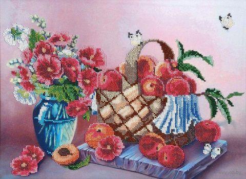"""Вышивка бисером """"В персиковых тонах"""" (300х410 мм) — фото, картинка"""
