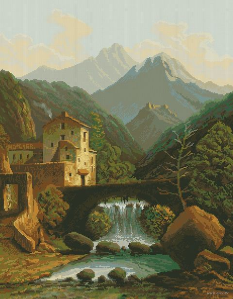 """Вышивка крестом """"Замок в горах"""""""