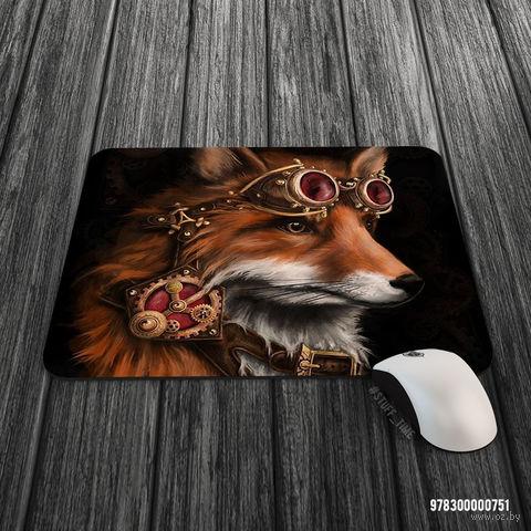 """Коврик для мыши большой """"Стимпанк лиса"""" (арт. 751)"""