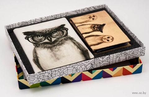 "Подарочный набор ""Сова"" (обложка на паспорт и кредитница) — фото, картинка"