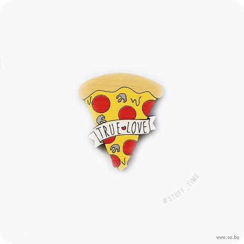 """Мини-брошка деревянная """"Любовь к пицце"""" (арт. 318) — фото, картинка"""