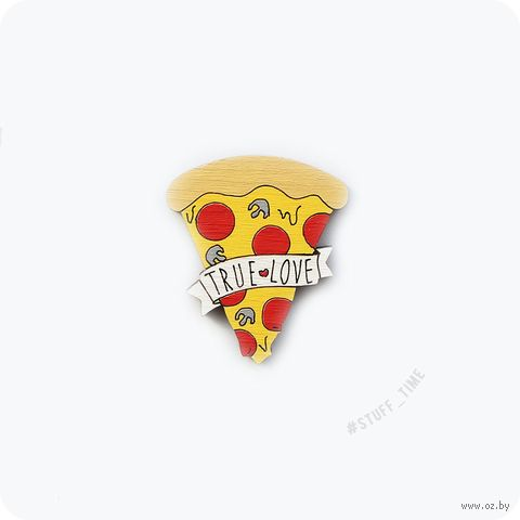 """Значок деревянный """"Любовь к пицце"""" (арт. 318) — фото, картинка"""