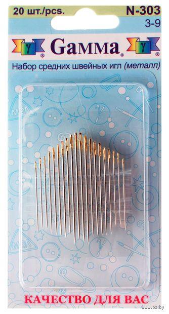 Иглы для шитья №3-9 (20 шт.; арт. N-303) — фото, картинка