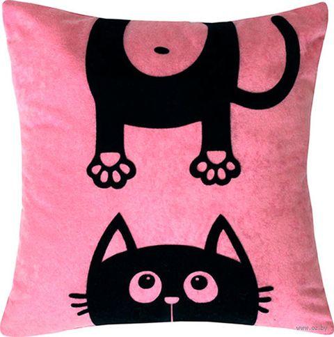 """Подушка """"Meow"""" (35x35 см; розовая) — фото, картинка"""