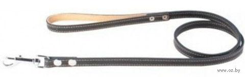 Поводок из натуральной кожи одинарный непрошитый (122х2 см; черный) — фото, картинка