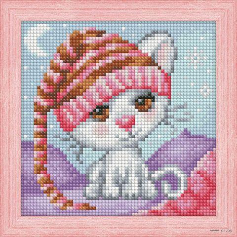 "Алмазная вышивка-мозаика ""Сонный котёнок"" (150х150 мм) — фото, картинка"