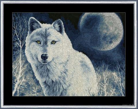 "Вышивка крестом ""Белый волк"" (313х408 мм) — фото, картинка"