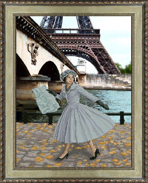 "Вышивка крестом ""Опять в Париже листопад"" (305х400 мм) — фото, картинка"