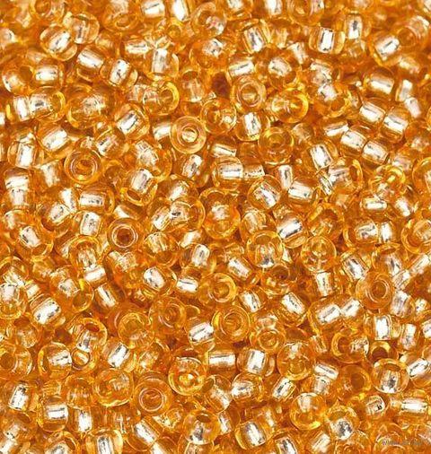 Бисер прозрачный с серебристым центром №18288 (оранжевый; 10/0) — фото, картинка