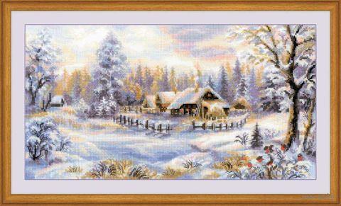 """Вышивка крестом """"Зимний вечер"""" (410х230 мм) — фото, картинка"""