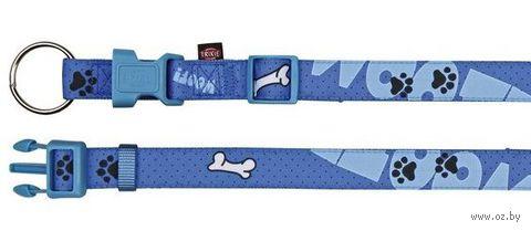 """Ошейник нейлоновый для собак """"Modern Art Collar Woof"""" (размер M-L, 35-55 см, голубой, арт. 15221)"""