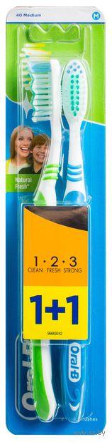 """Зубная щетка """"3-Effect. Натуральная свежесть"""" (средняя, 2 шт.) — фото, картинка"""
