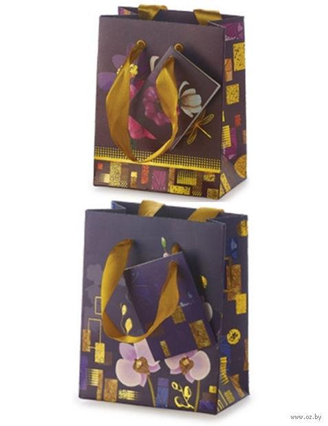 """Пакет бумажный подарочный """"Цветы"""" (11,1х13,7х6,2 см) — фото, картинка"""