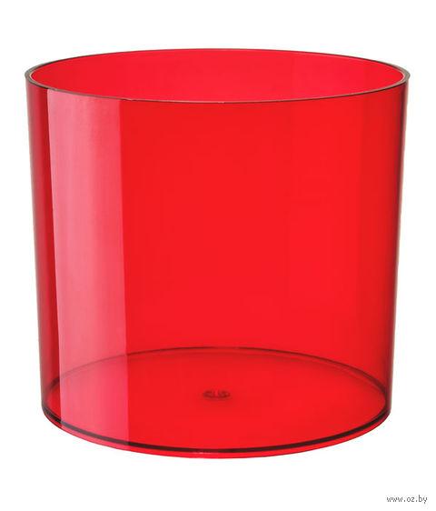 """Цветочный горшок """"Цилиндр"""" (15 см; прозрачный красный) — фото, картинка"""