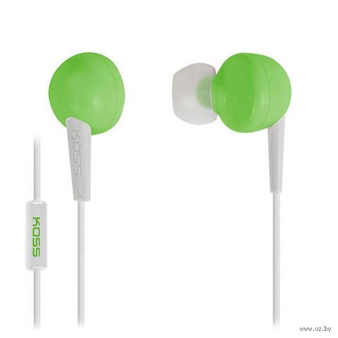 Наушники с микрофоном KOSS KEB6i G (зеленые) — фото, картинка