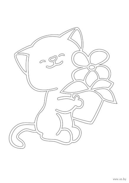 """Трафарет для рисования песком """"Кот с цветком"""" (А5)"""