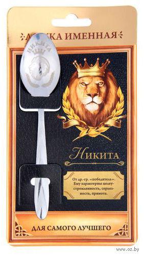 """Ложка чайная металлическая на открытке """"Никита"""" (137 мм) — фото, картинка"""
