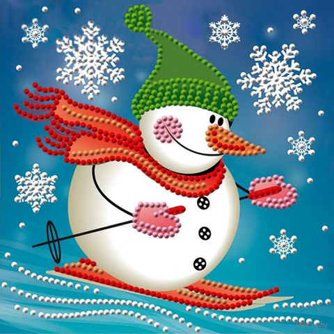 "Алмазная вышивка-мозаика ""Снеговик лыжник"" (150х150 мм) — фото, картинка"