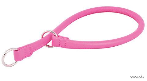 """Ошейник-удавка из натуральной кожи рывковый """"Glamour"""" (60х1,3 см; розовый) — фото, картинка"""