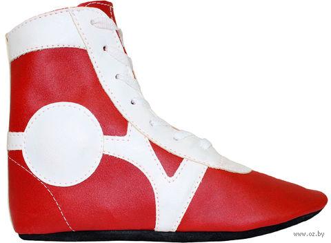 Обувь для самбо SM-0102 (р. 30; кожа; красная) — фото, картинка