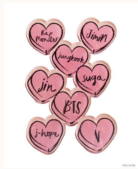 """Наклейка акриловая """"BTS. Сердца"""" (арт. 932) — фото, картинка"""