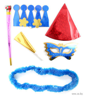 Набор для праздника (корона, дудка, язычок, колпак, маска, украшение на шею) — фото, картинка