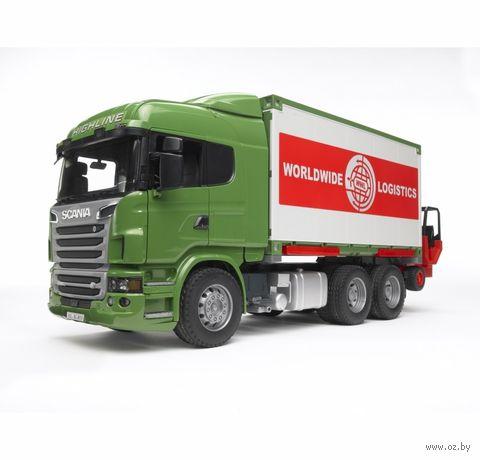 """Модель машины """"Фургон Scania с погрузчиком и паллетами"""" (масштаб: 1/16)"""