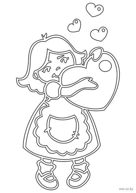 """Трафарет для рисования песком """"Малышка с сердцем"""" (А5)"""