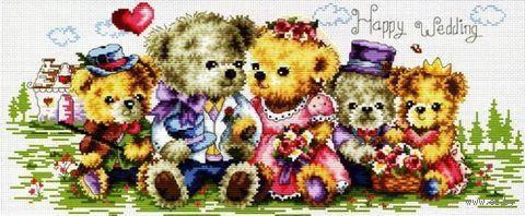"Вышивка крестом ""Семейка медвежат"" (185x450 мм) — фото, картинка"
