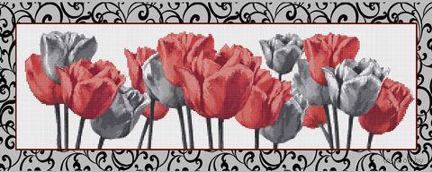 """Алмазная вышивка-мозаика """"Черно-белые и красные тюльпаны"""" (900х350 мм) — фото, картинка"""