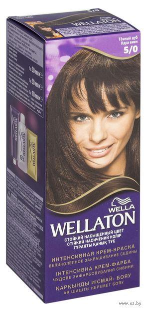 """Крем-краска для волос """"Wellaton. Интенсивная"""" тон: 5/0, темный дуб — фото, картинка"""
