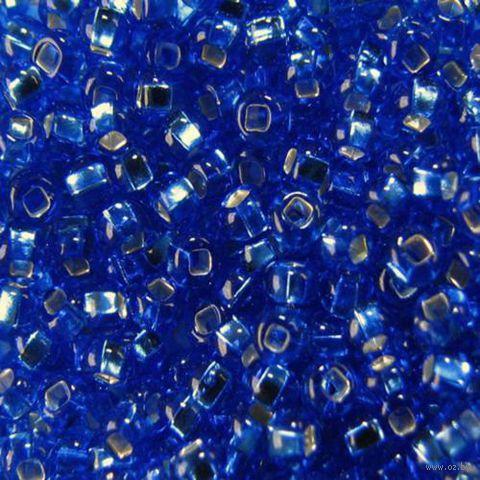 Бисер прозрачный с серебристым центром №37050 (голубой; 10/0)