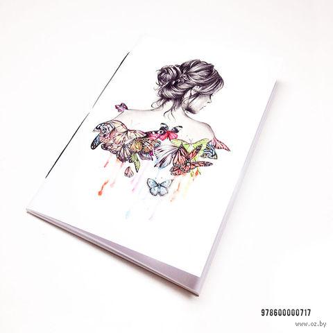 "Блокнот белый ""Девушка с бабочками"" А7 (арт. 717)"