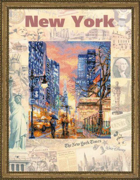 """Вышивка крестом """"Города мира. Нью-Йорк"""" (300х400 мм) — фото, картинка"""