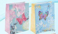 """Пакет бумажный подарочный """"Бабочка"""" (в ассортименте; 18х23х9 см; арт. МС-3008)"""