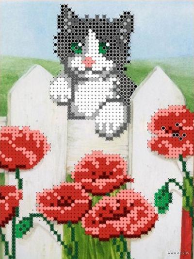 """Вышивка бисером """"Котик на заборе"""" (120х160 мм) — фото, картинка"""