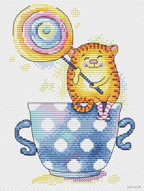 "Вышивка крестом ""Карамелька к чаю"" (180х140 мм) — фото, картинка"