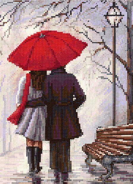 """Алмазная вышивка-мозаика """"Влюблённые на прогулке"""" (360х260 мм) — фото, картинка"""