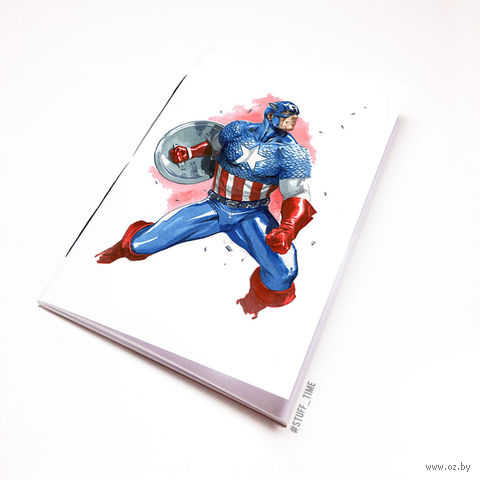 "Блокнот белый ""Капитан Америка"" А6 (221)"