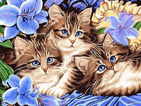 """Картина по номерам """"Котята в цветах"""" (300х400 мм; арт. PC3040059) — фото, картинка"""