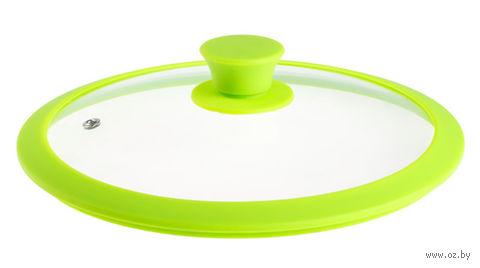 Крышка стеклянная с силиконовым ободом (28 см; зеленый) — фото, картинка